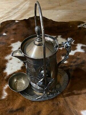 1898 Riverboat Tilting Water Pitcher, Cup & Stand Set Wilcox Silver Plate Co