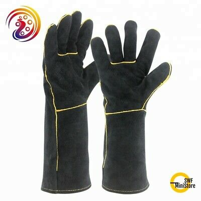 15 Inch Welding Gloves Heat Resistant Lined Leather Stick MIG TIG BBQ One Size