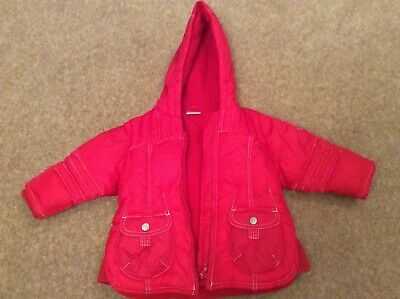 Next Girls Red Fleece Lined Hooded Coat (Age 9-12 Months) Excellent Condition