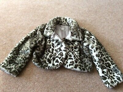 Marks & Spencers Girls Leopard Print Fake Fur Jacket (Age 3-4 Yrs) Excellent