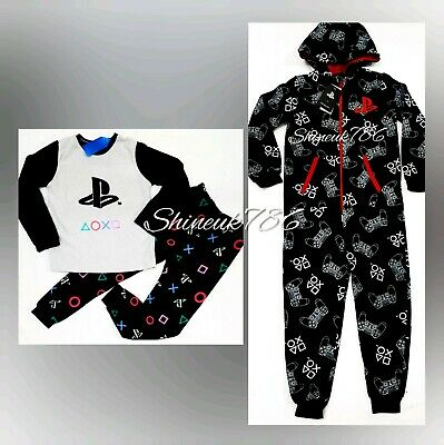 Primark Boys/kids Playstation Fleece Pyjamas Pjs Cosy Gaming Kids Xmas gift BNWT
