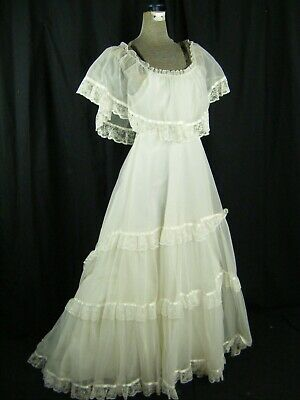 Vtg 70s White Hippie Tiered Cape Wedding Long Dress-Bust 31/2XS