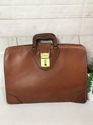 Leather World Belting Leather Briefcase With Combination Lock