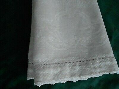 Huck Damask Towel, Off White With A Hand Crochet Finished Hem Circa 1920