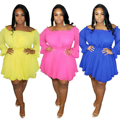 Sexy Plus Size Women Boat Neck Long Sleeves Elastic Waist Solid Chiffon Dress