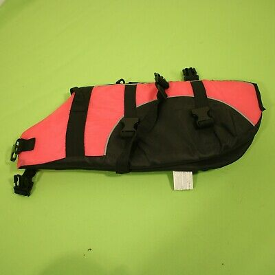 Dog Life Vest Safety Sz Medium Pink Black Adjustable Straps
