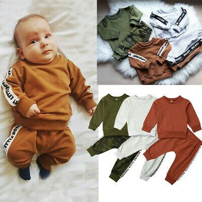 Toddler Kids Baby Girls Boys Letter Solid Sweatshirt Fleeces Tops Pants Outfits