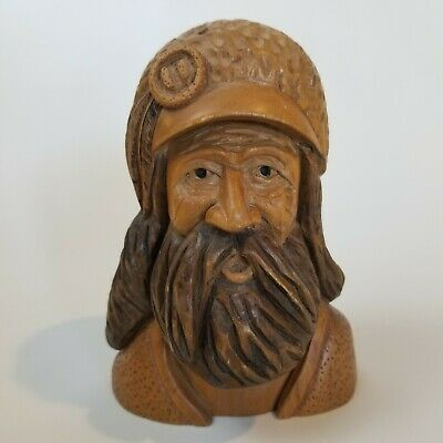 Vintage Detailed Hand Carved Wood Explorer Mountain Man Face Sculpture Signed