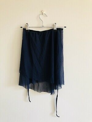 Lespetitesjupesdepatricia Wrap Mesh Skirt-navy -length Medium