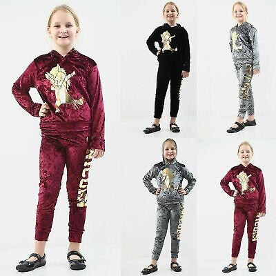 Girls Velour Hooded Unicorn Tracksuit Kids Long Sleeve Lounge Wear Co Ord Suit