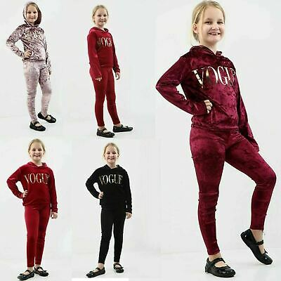 Girls Velour Hooded Vogue Tracksuit Kids Long Sleeve Lounge Wear Co Ord Suit