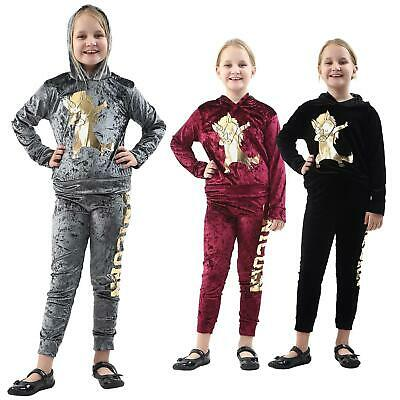 New Girls Kids Velour Hooded Unicorn Dab Tracksuit Top Bottom Lounge Wear Sets
