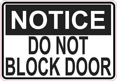 5in x 3.5in Notice Do Not Block Door Magnet Wall Signs Magnetic Doors Sign
