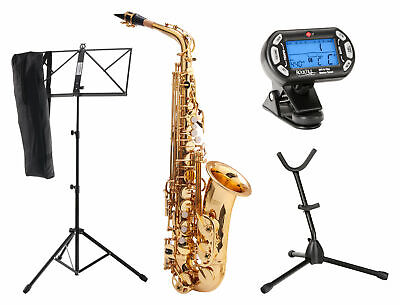 Alto Saxophone Brass Sax Wind Instrument Set Case Stand Mouthpiece Metronome