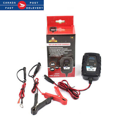 6V 12V 1A Car Motorcycle Automatic Smart Battery Charger Maintainer CA