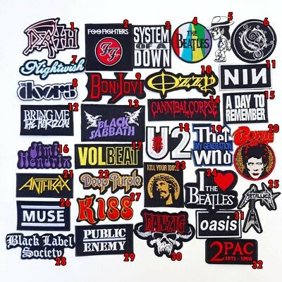 Rock Heavy Metal Punk Hiphop Band Music Iron On Patches Sew Embroidered DIY