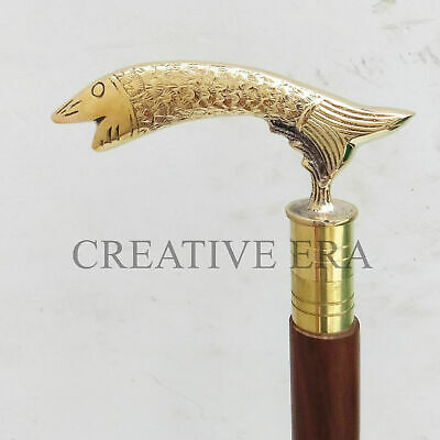 Handmade Solid Brass Fish Handle Wooden Vintage Walking Cane Antique Style Stick