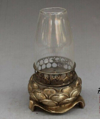 Collectible China Old Decorated Handwork Tibet Silver Carved lotus used Oil Lamp