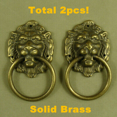 2pcs Brass Lion Head Shaped Door Knocker Vintage Door Bell Knocker Hardware