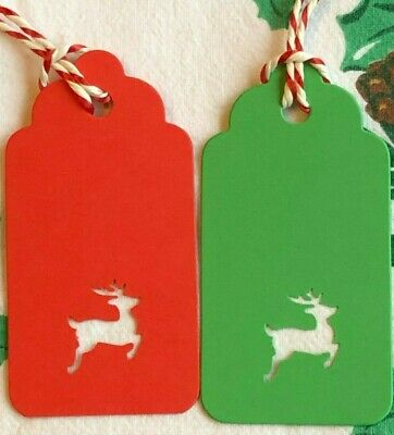 20 Large Red & Green Stag Reindeer Christmas Gift Tags, Price Labels With Twine