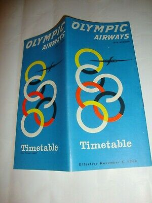 Olympic Airways Timetable 1960. Grece