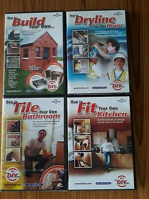 4 x 'How To' DIY DVD's. Build your own BBQ/Pond, Dry line. Tile. Fit a kitchen