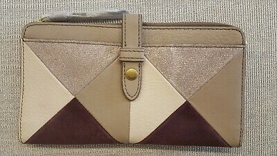 Fossil Saddle Brown Red Multi KARLI CLUTCH Pebble Leather Wallet SWL1236 995 $70