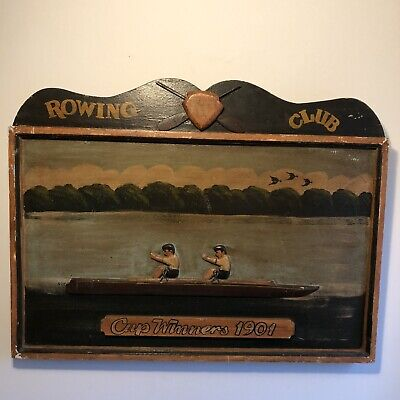 Antique Wooden Hand Painted Rowing Club Plaque Picture Rowing Memorabilia