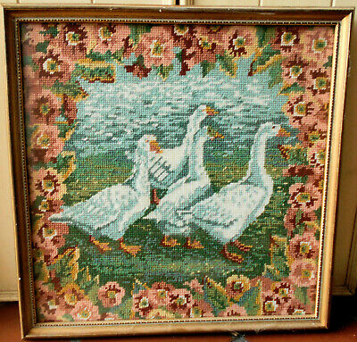 Ehrman Geese Needlepoint Tapestry Ann Blockley Completed