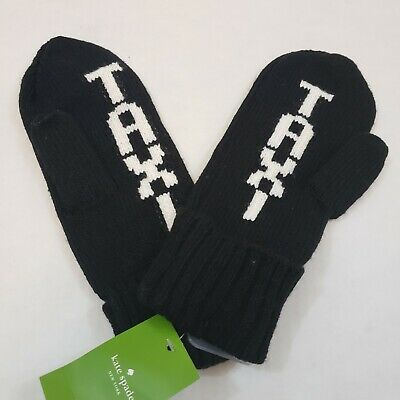 NWT Kate Spade Taxi Black Knit Mittens $48