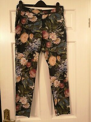 River Island Trousers Cotton Mix Floral Pattern Slim Fit Straight Leg 8 10