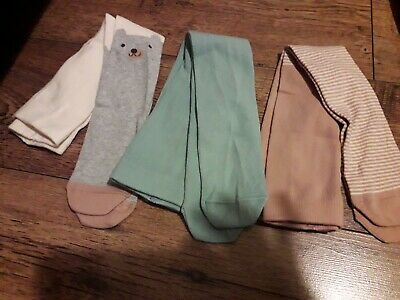 M&S Baby Girls 3 Pairs Soft Cotton Tights Size 6 -12 Months