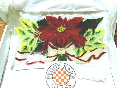Peggy Karr Fused Art Glass Poinsettia Tray or Platter in box new