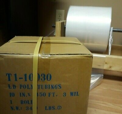 "Poly Tubing Bags Roll, Clear, 3 mil, 10"" x 1450', Free Shipment"