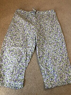 Girls *Mini Boden* Purple Flowery Trousers Age 7-8 In Excellent Condition