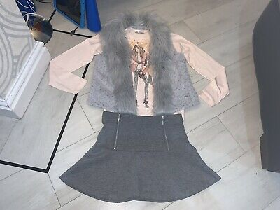 Girls Designer Mayoral Outfit Skirt Top & Gilet Age 10 Years Excellent Condition