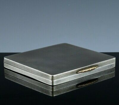 QUALITY c1913 ART DECO BIRMINGHAM STERLING SILVER & 14K GOLD CIGARETTE CARD CASE