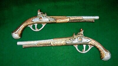 Vintage Brass Wall Hanging Matching Pistol Guns by C & A  England 13""