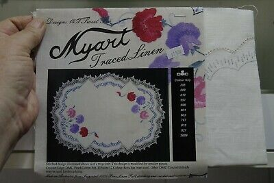 Myart Sweet Pea pattern printed linen embroidery large doily NEW OLD STOCK