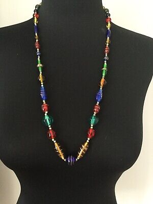 Beautiful Bold cobalt blue green red yellow art glass copper foil bead necklace