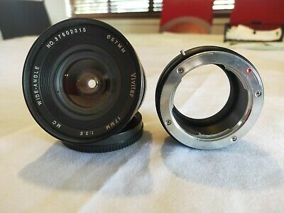 Vivitar 17 mm F 3.5 Wide Angle Lens MD Mount with e mount adapter.