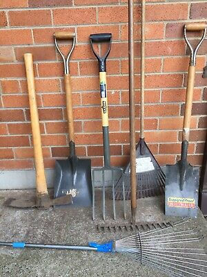 Collection of Garden Tools - Spades/shovels, Rakes, Mattock, Garden Fork