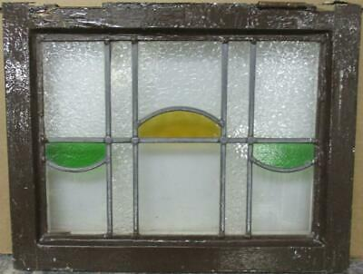 "OLD ENGLISH LEADED STAINED GLASS WINDOW Pretty Geometric Design 19.5"" x 15"""