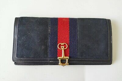 vintage gucci dark blue suede wallet with red stripe…vgc...
