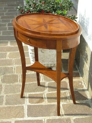 Antique Small Table Oval with Tray Inlaid & Drawer Period Xx Century