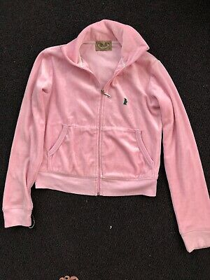 Original 2000s PJuicy Couture Tracksuit Top Baby Pink Velour M
