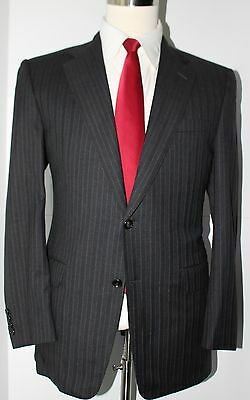 Hickey Freeman Madison Gray Striped Two Button Wool Suit Size 40 Regular 35 32