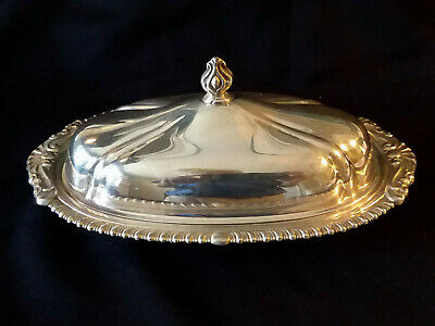 SHERIDAN SILVER PLATED BUTTER DISH w/ Lid Vintage Covered
