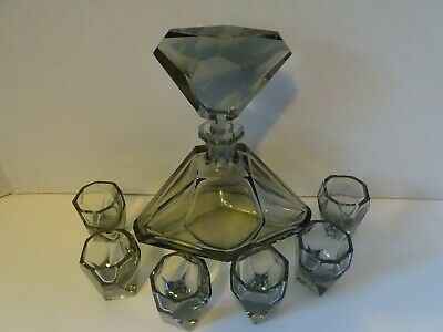 CZECH BOHEMIAN ART DECO STYLE 8pc CUT CORDIAL DECANTER SET XMAS SALE $169.99