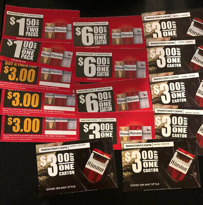 Winston Cigarette Coupons - Save $50 On Pack, Carton Of Cigarettes 15 Coupon Lot